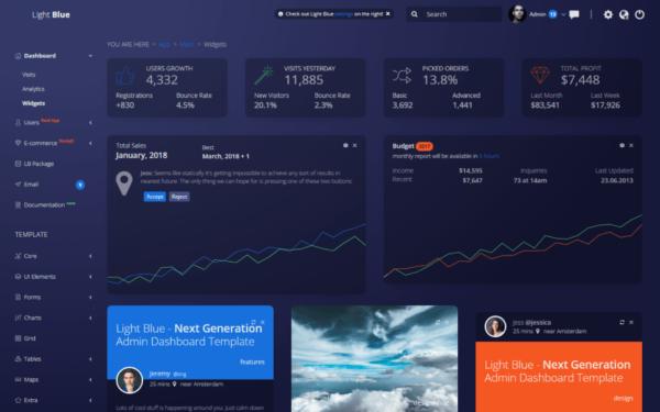 Light Blue React React Admin Dashboard Template2
